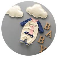 婴儿连体衣春秋长袖纯棉宝宝春装0-3-6个月韩版新生儿哈衣外出服