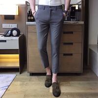 纯色大码小脚裤男绅士英伦韩版修身休闲西裤男西裤修身九分裤男潮