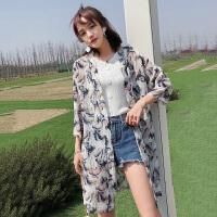 防晒衣 女士印花雪纺防晒衣2019夏季新款韩版时尚女式休闲洋气防晒衫女装披肩开衫