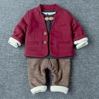 冬季男宝宝西服套装上衣裤子打底衫儿童韩版婴幼儿加厚西装三件套