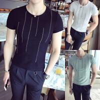 夏季新品短袖T恤男韩版简约竖条纹体恤修身薄款透气圆领半袖T恤衫