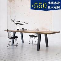 北欧实木办公桌简约书桌会议桌电脑桌工作台创意长桌工业风写字台