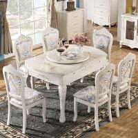 欧式餐桌椅组合伸缩实木大理石圆桌形现代简约折叠小户型简欧饭桌