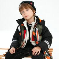 【2件3折到手价:274.45】小猪班纳童装男童连帽棉服冬季新款中大童棉袄儿童迷彩外套