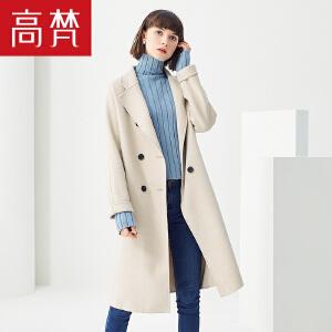 高梵2018秋冬新款韩版毛呢外套女双排扣中长款过膝修身双面呢大衣