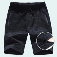 夏季新款男士运动短裤五分裤薄款透气宽松跑步针织裤拉链迷彩中裤 迷彩黑