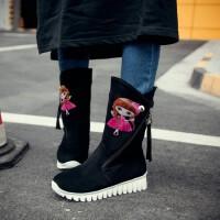 秋冬女童靴子女孩中大童棉靴绣花高筒靴毛毛靴公主童鞋女