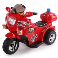 群兴7398儿童电动摩托车 宝宝遥控三轮车可坐电瓶车警车玩具童车