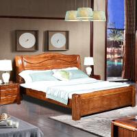 水曲柳实木床1.8米现代中式双人床高箱储物主卧婚床全实木家具 1500mm*2000mm 气压结构