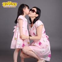 亲子装夏装2018新款韩版母女装连衣裙夏季童装女童连衣裙公主裙子