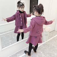 女童冬装时髦呢子套装秋冬季儿童公主毛呢外套洋气裙子潮