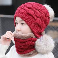 韩版时尚青年针织帽 户外骑车护耳帽保暖围脖连体帽 新款毛球女士毛线帽