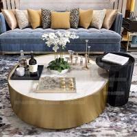 美克美家大理石台面茶几现代简约圆形北欧美式轻奢风格不锈钢客厅 整装