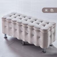 实木收纳凳储物凳店铺长方形换鞋沙发凳 布艺储物箱置物凳子鞋柜