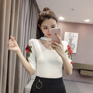 【班图诗妮】2018夏新款韩版针织衫刺绣学院风短袖V领t恤打底衫女