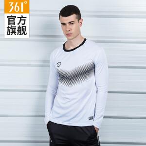 361度男装秋季新款圆领潮流长袖运动T恤男361印花时尚排汗长袖T恤