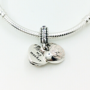 PANDORA潘多拉爱心玫瑰镶嵌瓷釉串珠791528EN40