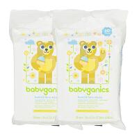 美国直邮(20年1月) Babyganics/甘尼克宝贝 手部面部清洁湿巾 无香型 30片*2包 海外购