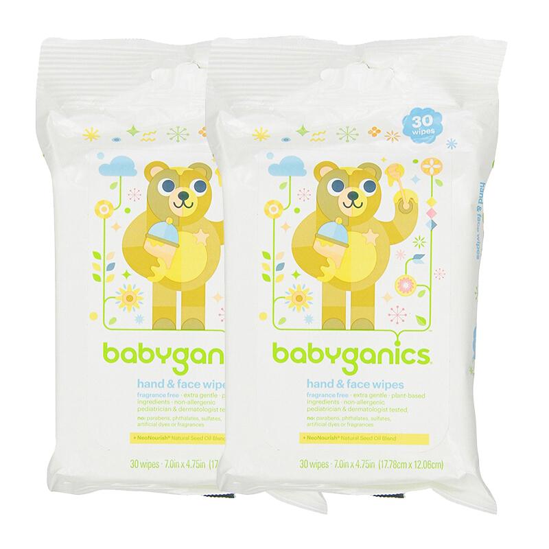 美国直邮(20年1月) Babyganics/甘尼克宝贝 手部面部清洁湿巾 无香型 30片*2包 海外购 手部面部清洁湿巾