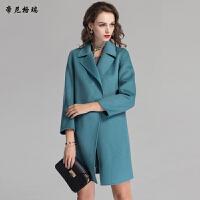 秋冬新款女士中长款翻领九分袖修身双面羊毛呢大衣外套女装M-616361