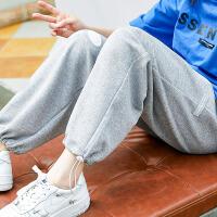 女童运动裤夏薄款春夏灰色休闲中大童胖女孩束脚裤宽松