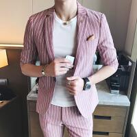 夏季新款条纹短袖小西装男士韩版修身七分袖西服套装发型师半袖潮