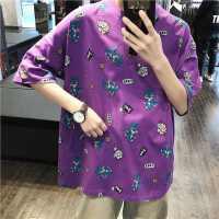 紫色T恤夏装韩情侣卡通恐龙动物印花短袖tee青少年情侣T恤