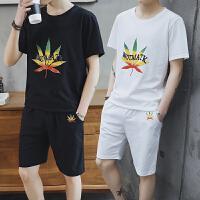 T恤男士短袖卫衣套装夏季上衣服半袖体恤打底衫两件套沙滩裤潮