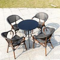 户外桌椅三五件套组合露天阳台休闲餐厅室外摆咖啡店藤椅6