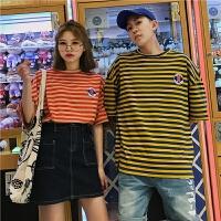 情侣装夏季新款韩版宽松潮流男女学生条纹短袖T恤半袖中袖