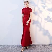 2018新款春季婚礼长款修身鱼尾结婚宴礼服裙女新娘敬酒服红色