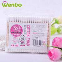 文博 2358系列 化妆卫生木棒纯棉棉签100支胶袋装3袋装