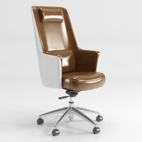 北欧电脑椅家用舒适高背办公椅书房椅子老板椅子商务办公室椅子 铝合金脚 固定扶手