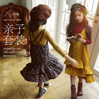 韩版童套装女童吊带裙打底衫两件套2017秋冬装中大儿童碎花连衣裙