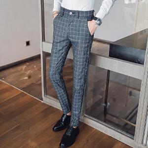 100A秋冬季男式格子休闲裤男装商务长裤韩版条纹修身小脚裤男
