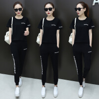 休闲套装女夏时尚2018新款韩版长裤气质短袖宽松运动卫衣两件套夏