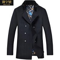 双排扣风衣羊毛呢外套秋冬大衣中长款男士大衣