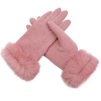 五指粉色可�弁媸�C手套女士兔毛保暖羊毛羊�q手套