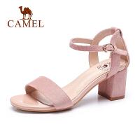 camel骆驼2019夏季新品绒面一字带网红凉鞋女士凉鞋粗跟圆头高跟鞋女