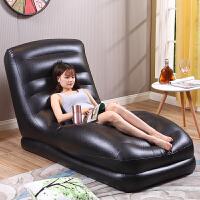 休闲充气懒人沙发床创意单人午休椅可折叠皮质小沙发躺椅 【深咖色沙发+电泵+】