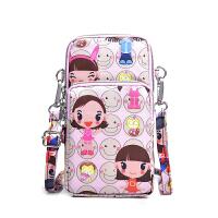 手机包包女新款韩版单肩斜跨小包挂脖手机袋装竖款手腕零钱包 藕色 粉娃娃手机包