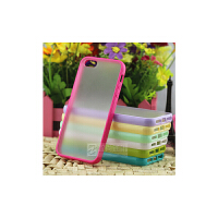 【包邮】智尚 包邮 iphone5/5S手机壳 外壳 彩色硅胶边框 苹果4s透明壳