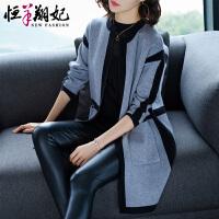 针织开衫女秋冬中长款2018新款韩版女装时尚宽松显瘦外搭毛衣外套
