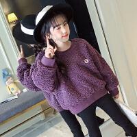 韩版女童潮衣中大童泰迪绒加绒上衣童装儿童外套女冬时髦