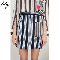 【此商品参加一口价,预估到手价79元】Lily春夏新款女装竖条纹拼接修身包臀裙口袋半身裙118230C6501