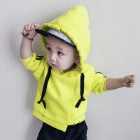 6-9个月宝宝加绒卫衣婴幼儿冬装0一1-3岁男女童加厚上衣服宽松潮