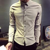 款男士纯色衬衫修身韩版青年长袖衬衣夜店发型师工作服潮