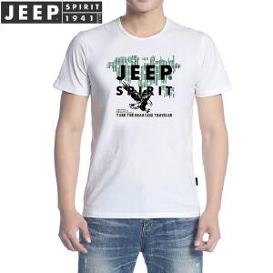 JEEP吉普 短袖t恤男 2018夏季新品男士休闲印花T恤 圆领上衣纯色衣服打底半袖t恤