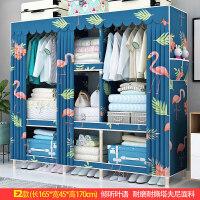 实木衣柜单人25MM加粗简约现代经济型简易布衣柜组装布艺收纳衣橱 3门