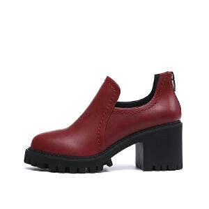 【到手109】戈美其年秋季英伦风深口圆头女鞋高跟粗跟黑色鞋子女单鞋